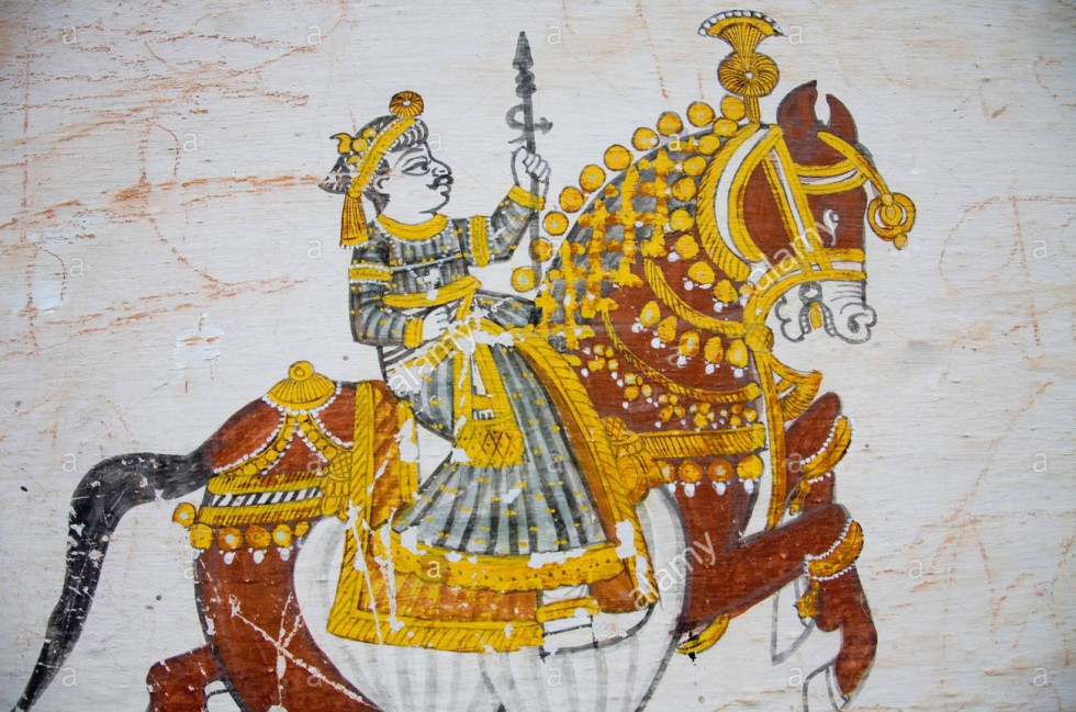 wall-painting-of-king-riding-horse-village-delwara-udaipur-rajasthan-f3gg8h-copy